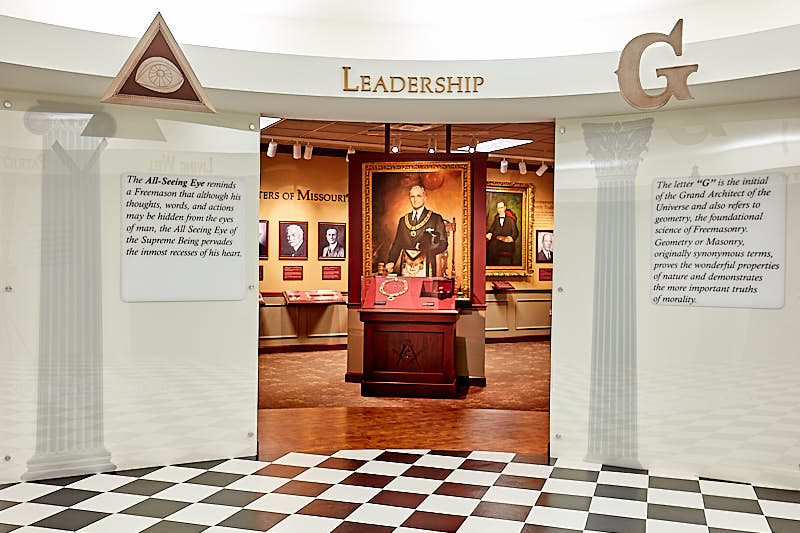 Entrance to Gallery with large portrait of Harry Truman.