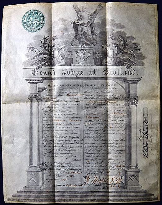 Historical document printed in blue ink.